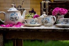 Service à thé démodé dans le jardin Photographie stock