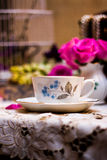 Service à thé démodé dans le jardin Photo libre de droits