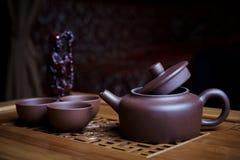 Service à thé d'argile image stock