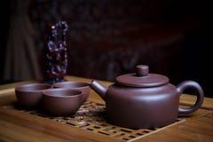 Service à thé d'argile image libre de droits