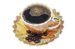 Service à thé, ensemble de café, soucoupe, tasse, fond blanc, ustensile de cuisine, vaisselle de cuisine Images libres de droits