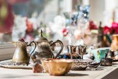 Service à thé fait d'argent photographie stock libre de droits