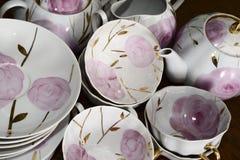 Service à thé russe traditionnel de porcelaine Photographie stock