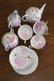 Service à thé russe traditionnel de porcelaine Images stock