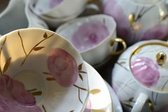 Service à thé russe traditionnel de porcelaine Photos libres de droits