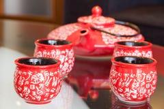 Service à thé sur la table Images libres de droits