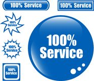 SERVICE 100% Web Button. Set of different form icon stock illustration
