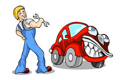 Service. Man and red cartoon car Stock Images