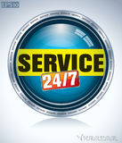Service 24/7 round button. 24/7 Sign, Twenty four hours/seven days Royalty Free Stock Photography