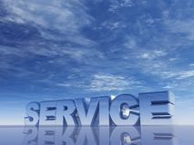 Service. The word service in front of blue sky - 3d illustration