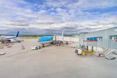 Service aérien moderne dans l'aéroport pour les passagers et le bagage, Co Photographie stock libre de droits