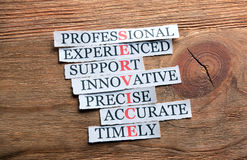Service acronym on wood. Service acronym in business concept, words on cut paper on wooden background Stock Photos