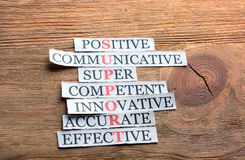 Service acronym on wood. Service acronym in business concept, words on cut paper on wooden background Stock Image