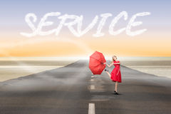 Service against road leading out to the horizon Royalty Free Stock Photo