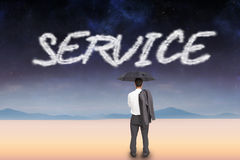 Service against serene landscape Royalty Free Stock Photos