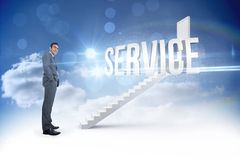 Service against steps leading to closed door in the sky Stock Images