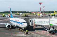Service aircraft before flight at Domodedovo airport Stock Photo