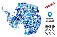 Service Antarctica Map Composition. Service Antarctica map collage of cogwheels, wrenches, hammers and other tools. Abstract geographic scheme in blue color hues royalty free illustration