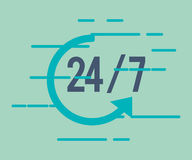 24 7 service with arrow icon. Illustration design Stock Photography