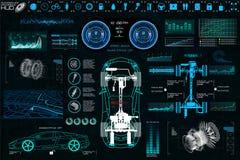 Service automatique de voiture, conception moderne HUD, voiture diagnostique illustration libre de droits
