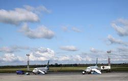Service avant le vol des avions de transport de passagers Photos libres de droits
