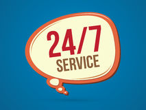 24/7 service. Balloon 24 hours a day and 7 days service sign graphic vector Stock Image