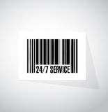 24-7 service barcode sign concept. Illustration design icon graphic Stock Image