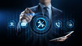 Service 24 begrepp för teknologi för affär för kvalitets- försäkring för 7 kundtjänst arkivfoto