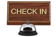 Service Bell with Check In Sign Stock Photos