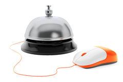 Service bell with Computer Mouse on a white. Background Royalty Free Stock Photography