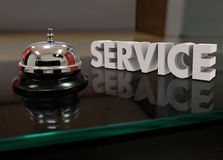 Service Bell Courtesy Assistance Customer Front Desk. Service 3d word beside a bell to call for help or assistance at a front desk Royalty Free Stock Photography