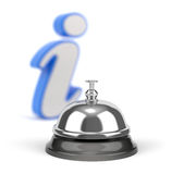 Service bell with information sign. 3D illustration with service bell and strong DOF on information sign Stock Photos