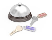 Service bell and keys. On white background. 3d render. hotel reception concept Stock Photos