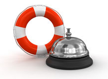 Service bell and Lifebuoy (clipping path included) Royalty Free Stock Photography