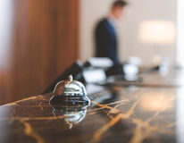 Service bell locating at reception Royalty Free Stock Images