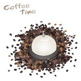 A Service Bell with Roasted Coffee Beans Royalty Free Stock Photography
