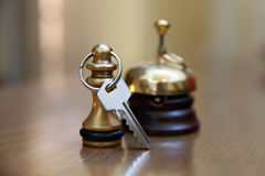 A service bell and room key Stock Image