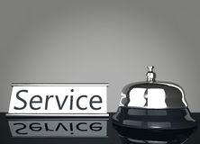 Service Bell with Service Sign. Mirroring on floor Royalty Free Stock Photo
