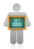 24-7 service board sign concept Stock Photos