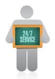 24-7 service board sign concept. Illustration design icon graphic Stock Photos