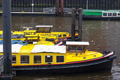 Service boats anchored in Baumwall area of Hamburg Port Royalty Free Stock Images