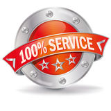 100% service. Button with 100% business service Stock Image