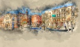 Service célèbre de gondole dans les canaux de Venise illustration libre de droits