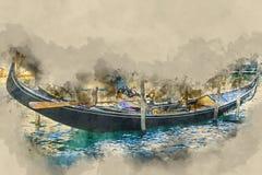 Service célèbre de gondole dans les canaux de Venise illustration stock