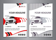 A5, A4 service car business card template. Auto repair Brochure templates, identity illustration. Set A5, A4 service car business card template. Auto repair Royalty Free Stock Photos