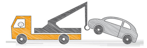 Service car. Car towing truck. Vector illustration Royalty Free Stock Photo