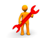 Service Cartoon. Orange cartoon with with red spanner isolated on white Royalty Free Stock Image