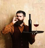Service and catering concept. Man with beard holds wine on beige wall background. Barman with satisfied face serves wine glass showing perfection sign. Waiter Royalty Free Stock Images