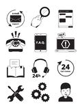 Service center black icons. Tech 24h support customer web chat help admin headset phone manager assistance people vector. Pictures. Service support call center vector illustration