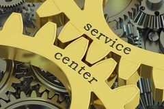 Service center concept on the gearwheels, 3D rendering. Service center concept on the gearwheels, 3D Stock Image